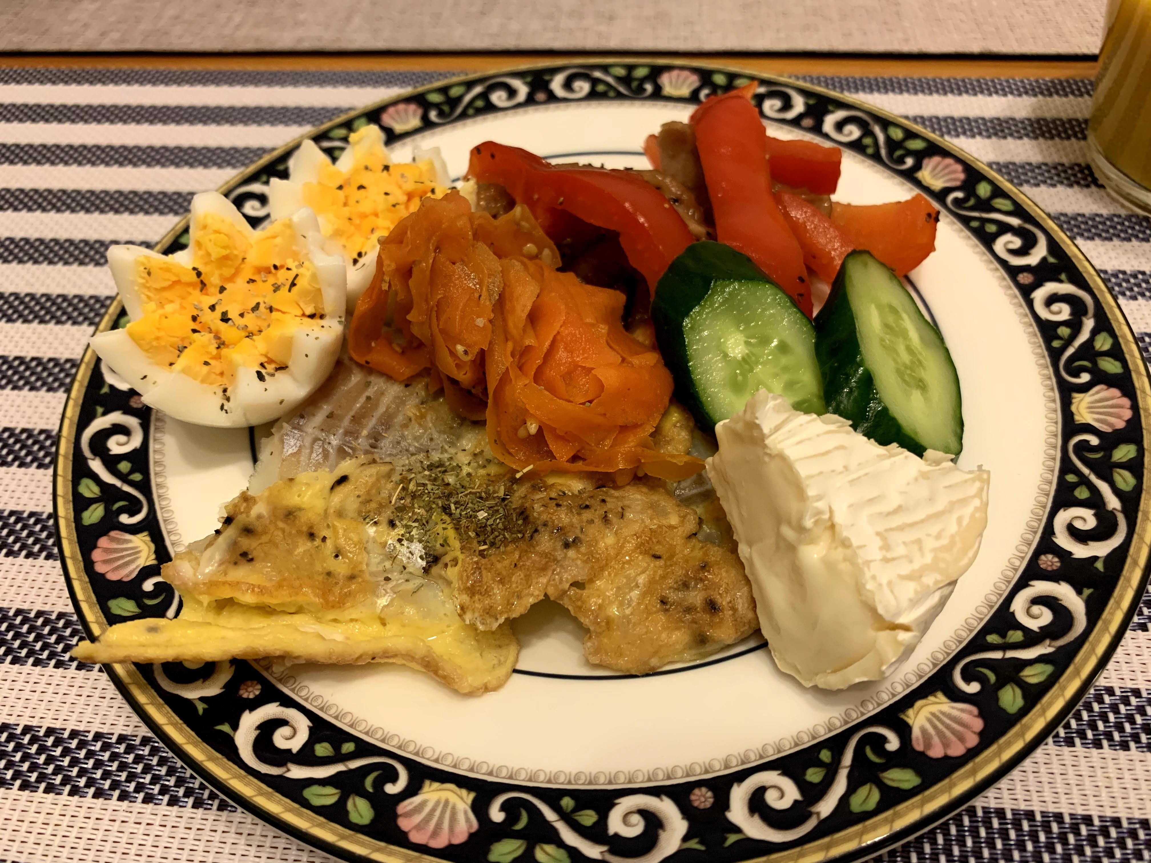 main plate of assorted foods at easter dinner