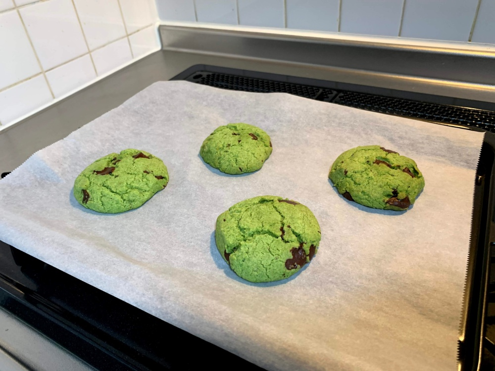 freshly baked green biscuits