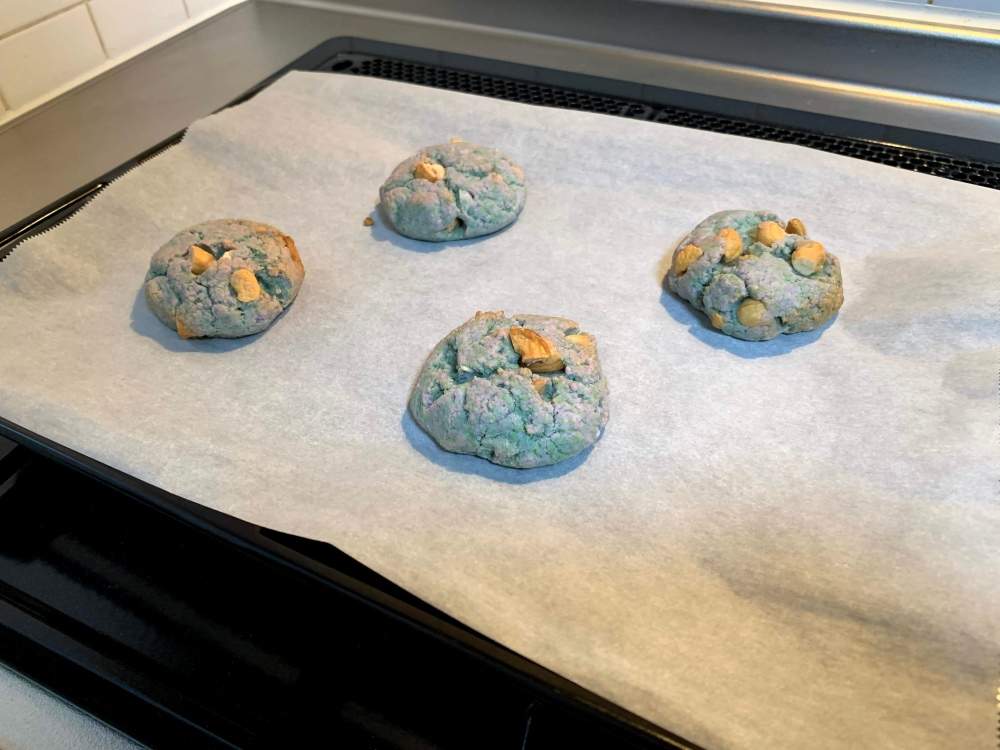 freshly baked blue biscuits