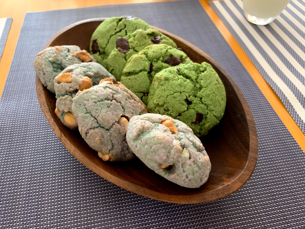 plate with green and blue biscuits