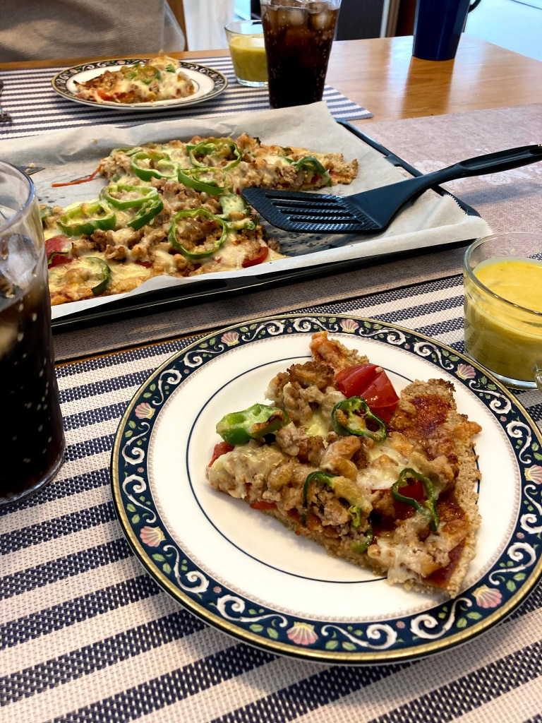 home-made oatmeal crust pizza