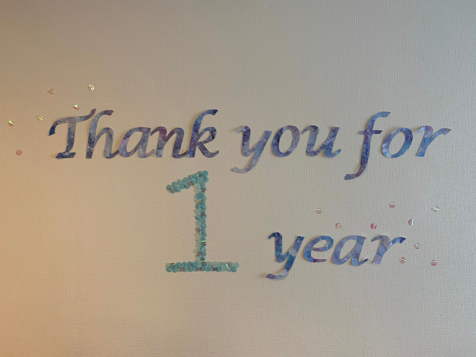 Thank you for 1 year wall decoration