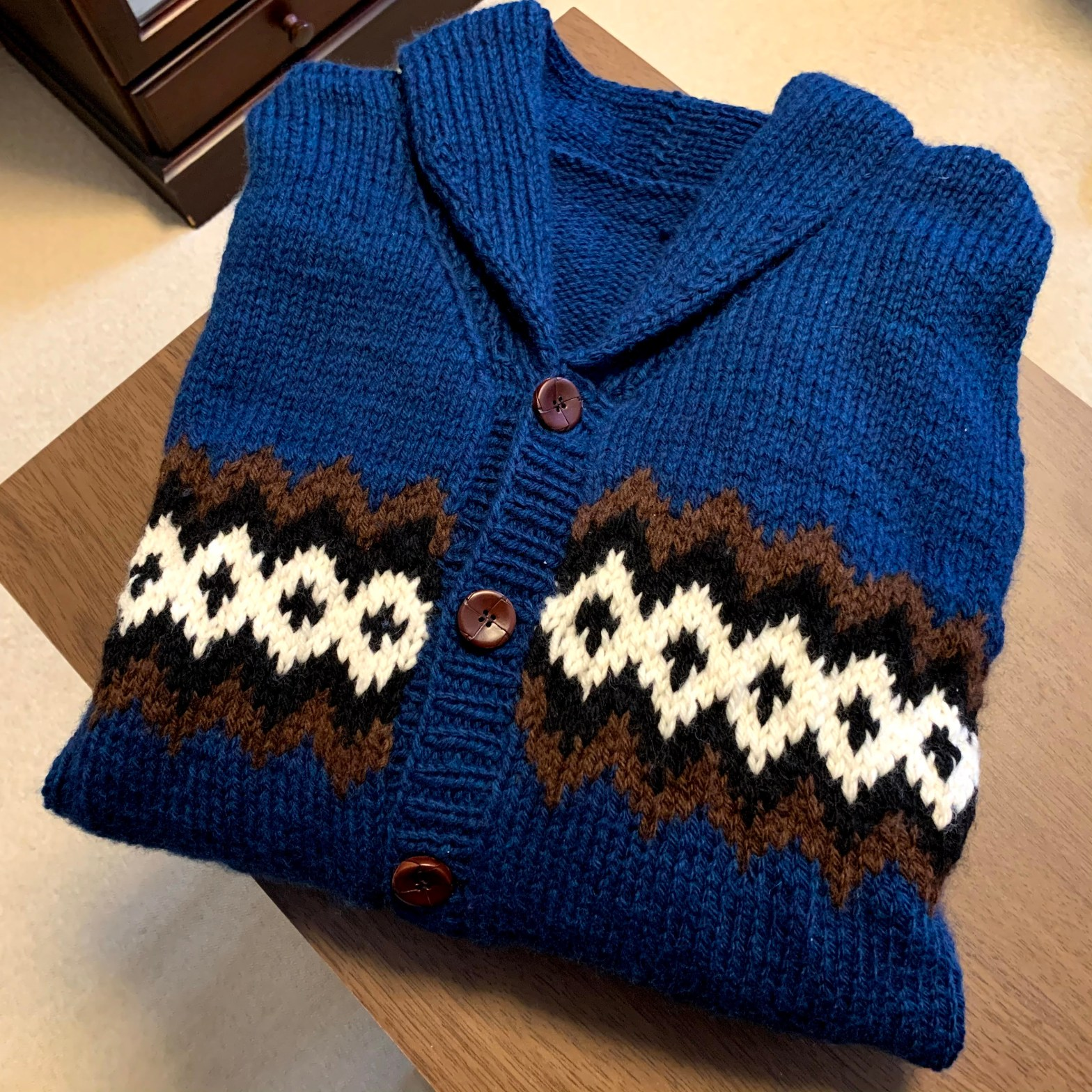 my new blue woolen jumper