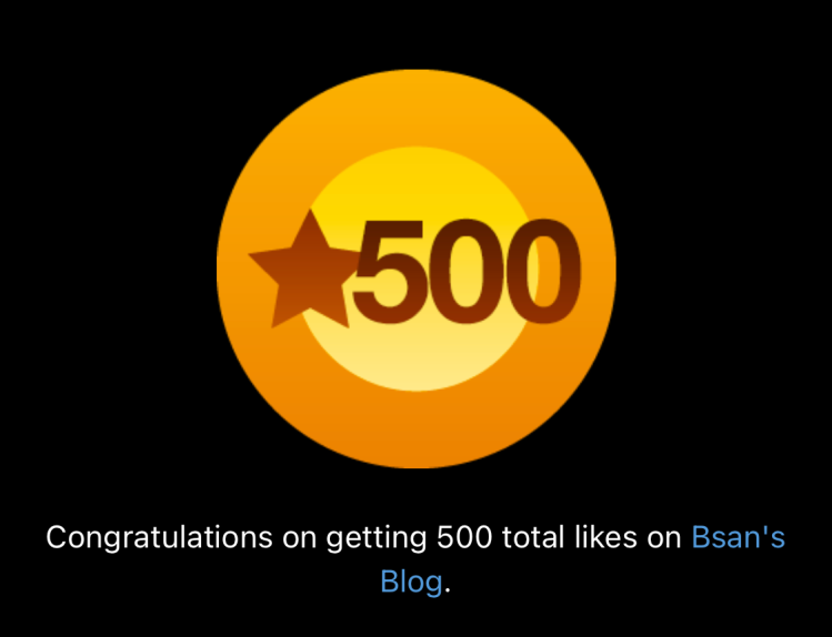 sticker for 500 likes on blog