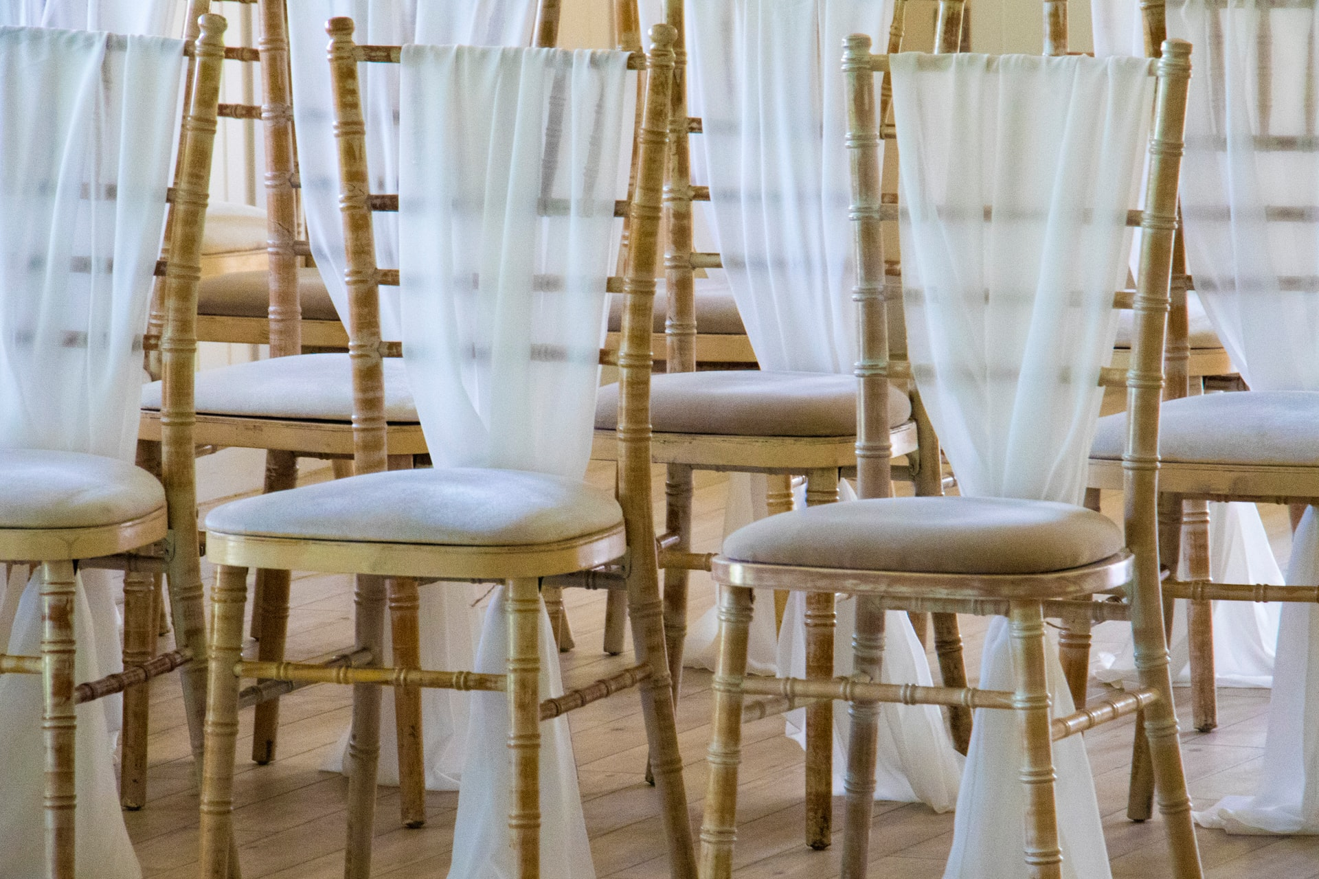 chairs with wedding decorations
